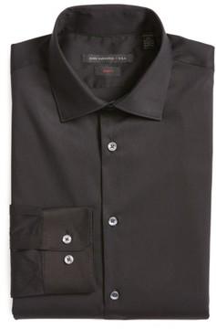 John Varvatos Men's Slim Fit Solid Stretch Cotton Dress Shirt