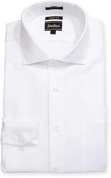 Neiman Marcus Trim-Fit Regular Finish Crisscross Dress Shirt, White