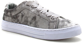 Qupid Light Gray Crushed Velvet Reba Sneaker