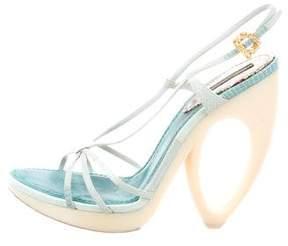 Louis Vuitton Lizard-Trimmed Sandals