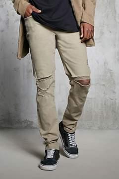 21men 21 MEN Slim-Fit Ripped-Knee Jeans