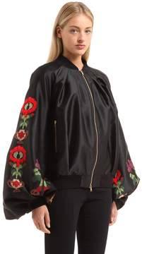 Stella Jean Embroidered Zip Up Satin Jacket