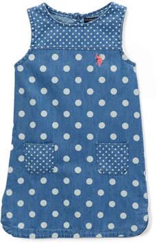 U.S. Polo Assn. Medium Wash Polka Dot Sleeveless Dress - Infant & Toddler