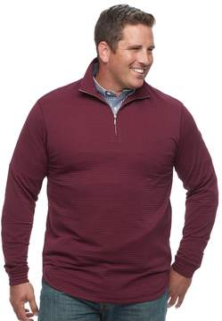 Haggar Big & Tall Marled Stretch Fleece Quarter-Zip Pullover
