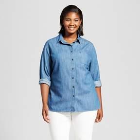 Ava & Viv Women's Plus Size Denim Button Down Shirt Medium Wash