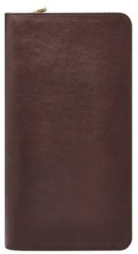 Fossil Men's Leather Zip Passport Case - Brown