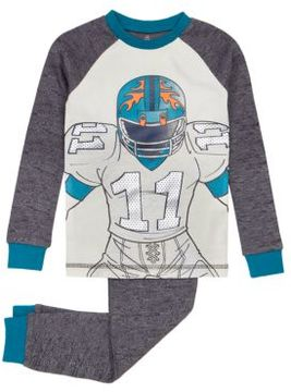 Petit Lem Little Boy's Two-Piece Football Top and Pants Pajama Set