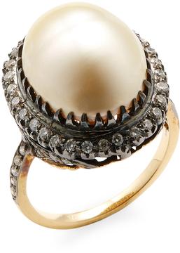 Amrapali Women's Diamond and Pearl Ring