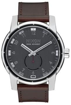 Nixon Men's 'The Patriot' Leather Strap Watch, 45Mm