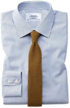 Charles Tyrwhitt Extra Slim Fit Non-Iron Stripe Navy Blue Cotton Dress Shirt Single Cuff Size 15/33
