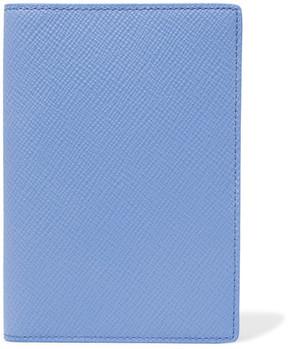 Smythson Panama Textured-leather Travel Wallet - Blue