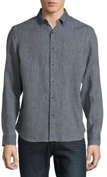 Black & Brown Black Brown Striped Long-Sleeve Linen Button-Down Shirt