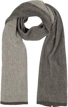 Mila Schon Beige/Brown Stripe Wool Blend Long Scarf