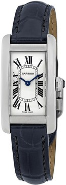 Cartier Tank Americaine Silver Dial Navy Leather Ladies Watch