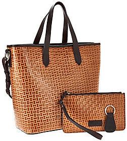 Dooney & Bourke Woven Embossed Leather Shopper w/ Accessories