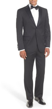 David Donahue Men's Classic Fit Loro Piana Wool Notch Lapel Tuxedo