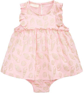 First Impressions Shell-Print Cotton Skirted Romper, Baby Girls, Created for Macy's