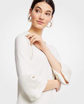 Ann Taylor Crochet Yoke Sweater