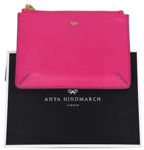 Anya Hindmarch Hot Pink Leather Zip Pouch