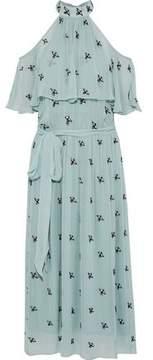 Temperley London Starling Cold-Shoulder Layered Embellished Chiffon Midi Dress