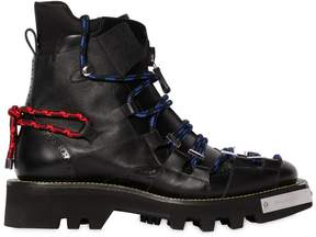 DSQUARED2 50mm Leather & Nylon Hiking Boots