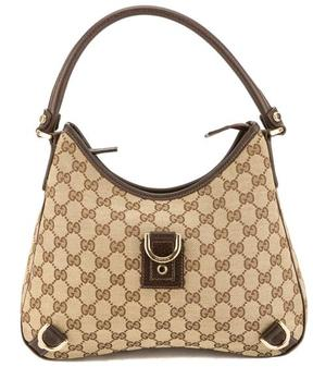 Gucci Brown Leather GG Monogram Canvas DRing Hobo Bag - BROWN - STYLE