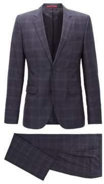HUGO Boss Checked Wool Suit, Extra Slim Fit Astian/Hets 42S Dark Blue