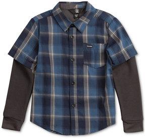Volcom Hayes Plaid Cotton Shirt, Big Boys (8-20)