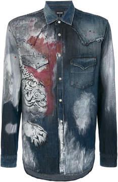 Just Cavalli tiger print denim shirt
