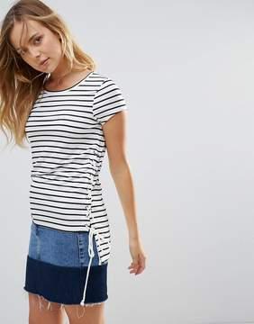 Brave Soul Julian Stripe T-Shirt With Tie Sides