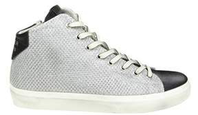 Leather Crown Women's Silver Fabric Hi Top Sneakers.