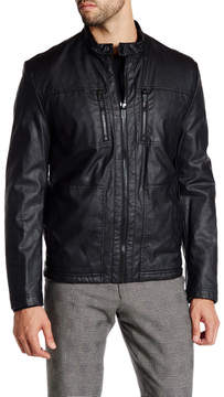 Kenneth Cole New York Faux Fleece Lined Faux Leather Jacket