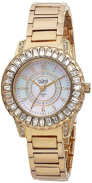 Burgi Gold-Tone Brass Mother of Pearl Dial Diamond Ladies Watch