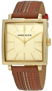 Anne Klein Gold-tone Dial Brown Leather Ladies Watch