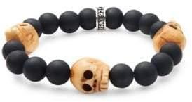 King Baby Studio Black Onyx & Sterling Silver Skull Bracelet
