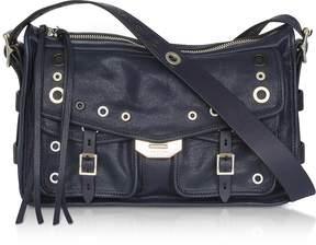 Rag & Bone Navy Blue Leather Grommet Field Messenger Bag