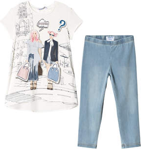 Mayoral White And Blue Shopping Girls T-Shirt and Trousers Set