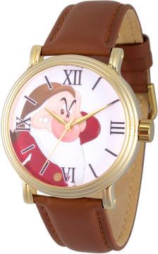 Disney Snow White Mens Brown Strap Watch-Wds000342