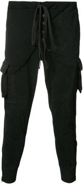 Greg Lauren drawstring tapered cropped trousers