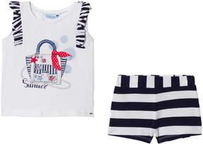 Mayoral Navy Stripe Bag T-Shirt and Shorts Set