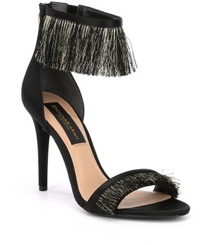 Donna Karan Val Fringe Detail Leather Dress Sandals
