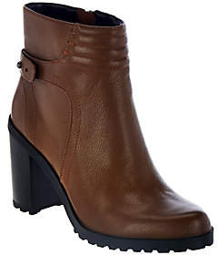 Halston H by Leather Ankle Boots with BlockHeel - Cara