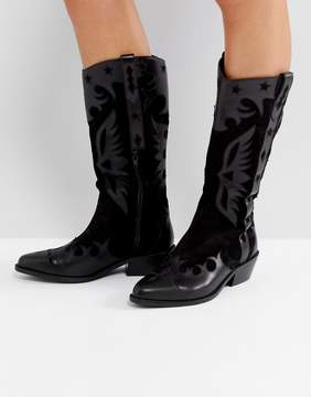 Asos CACTUS Leather Western Knee High Boots