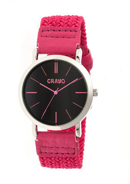 Crayo Unisex Symphony Pink Nylon-Band Watch Cracr2706