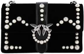 Pinko Crossbody Bags Love Bag Velvet With Pearls And Chain Shoulder Strap