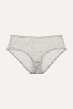 Eres Montsouris Notre-dame Chantilly Lace And Tulle Briefs - Light gray