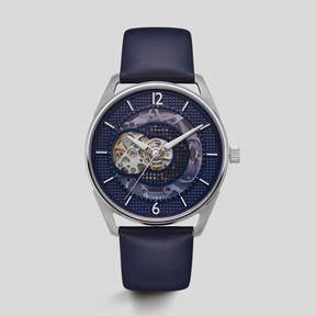 Kenneth Cole New York Dark Blue Silver-Tone Leather Watch