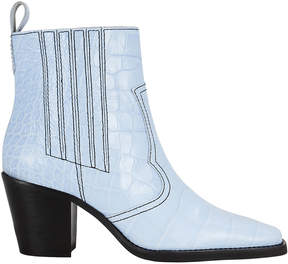 Ganni Western Croc-Embossed Sky Blue Boots