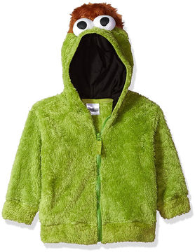 Asstd National Brand Sesame Street Toddler Girls Oscar Costume Hoodie with Faux Fur and 3D Face