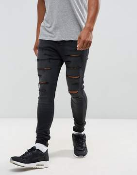 SikSilk Super Skinny Fit Drop Crotch Skinny Jeans With Distressing
